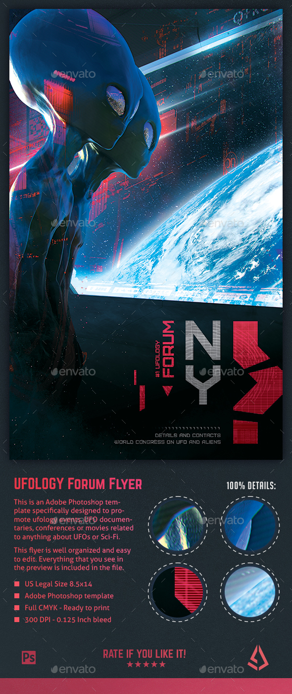 UFO Aliens Flyer - Ufology Event Sci-Fi 8.5x14 Poster Template - Flyers Print Templates