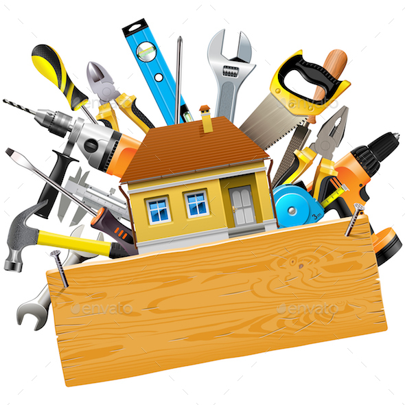 Vector Construction Tools with House - Industries Business