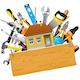 Vector Construction Tools with House - GraphicRiver Item for Sale