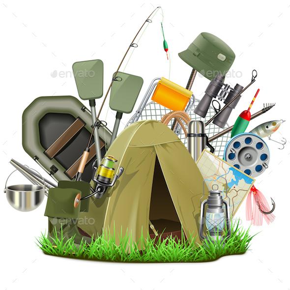 Vector Fishing Camp - Sports/Activity Conceptual