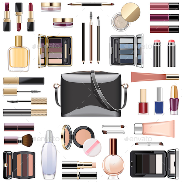 Vector Makeup Cosmetics with Black Handbag - Retail Commercial / Shopping
