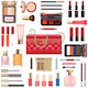 Vector Makeup Cosmetics with Red Handbag - GraphicRiver Item for Sale