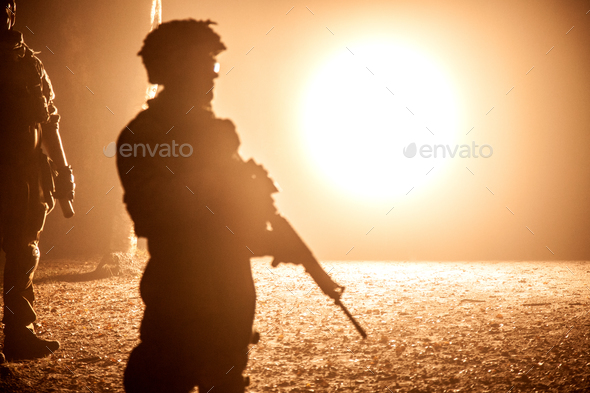 Black silhouette of soldier - Stock Photo - Images