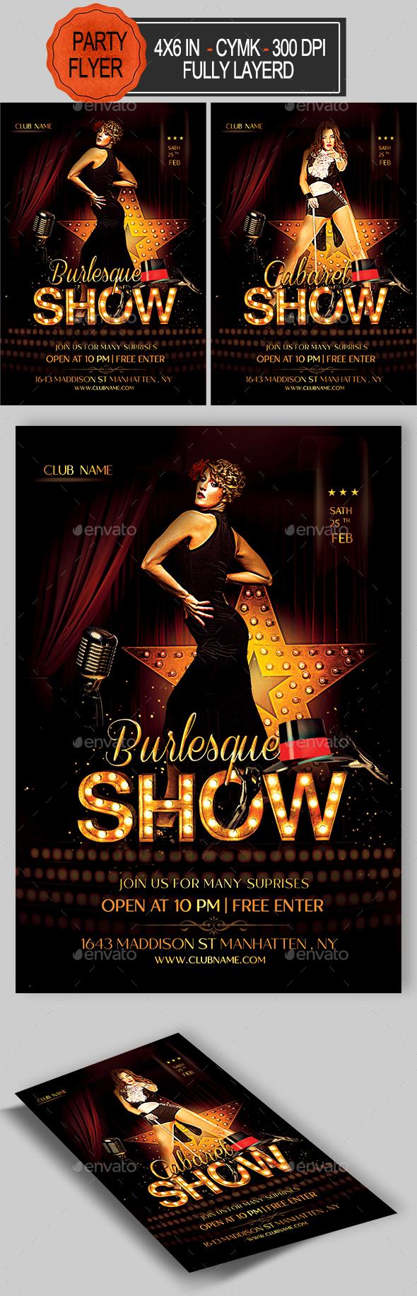 Burlesque Flyer - Clubs & Parties Events