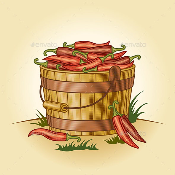 Retro Bucket of Chili Peppers - Food Objects