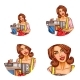 Vector Set of Female Avatars in Pop Art Style - GraphicRiver Item for Sale
