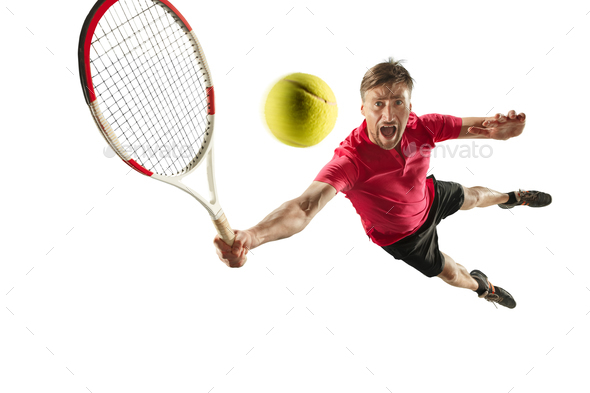 one caucasian man playing tennis player isolated on white background - Stock Photo - Images
