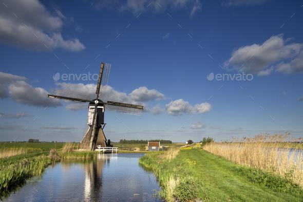 The Broekmolen windmill near Streefkerk - Stock Photo - Images