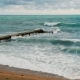 Lonely Pier in the Adriatic Sea Big Waves - VideoHive Item for Sale