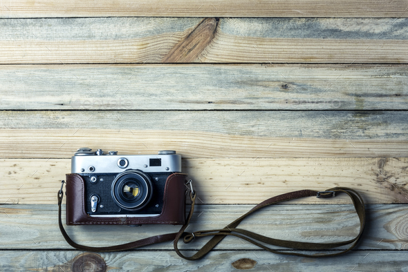 Old vintage film photo camera - Stock Photo - Images