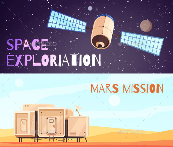 Conquest Of Space Banners Set - Travel Conceptual