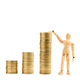 Graph from gold coins with wooden model - PhotoDune Item for Sale