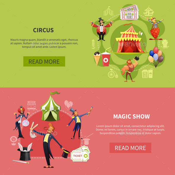 Circus Cartoon Banner Set - Animals Characters