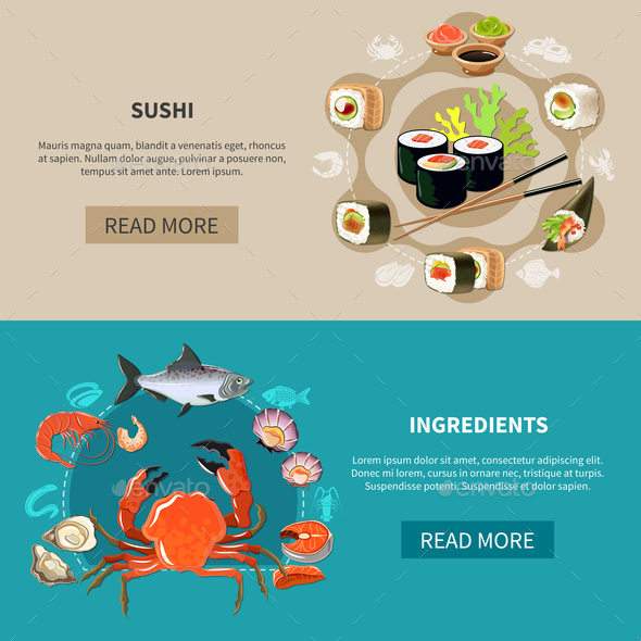 Sushi Banner Set - Food Objects