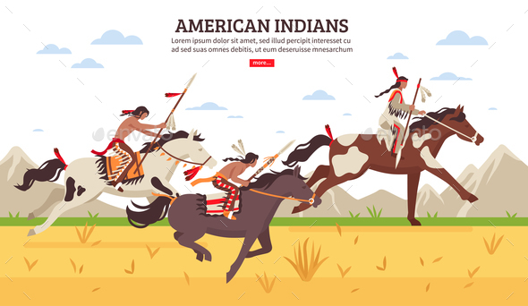 American Indians Cartoon Background - People Characters