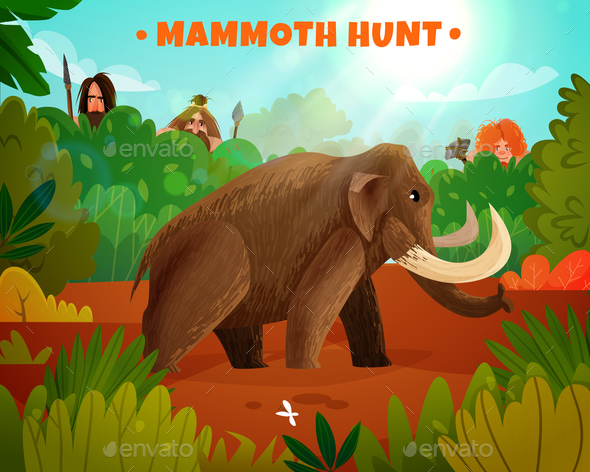 Mammoth Hunt Vector Illustration - Animals Characters