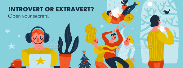 Introvert Or Extravert Header Illustration - People Characters