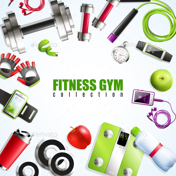 Fitness Gym Composition - Food Objects