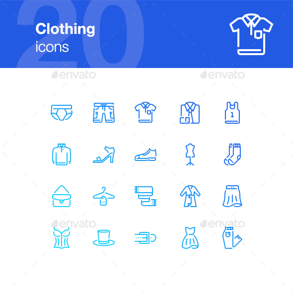20 Clothing icons - Man-made objects Objects