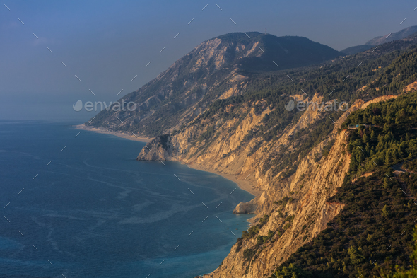view of Egremni beach, Greece - Stock Photo - Images