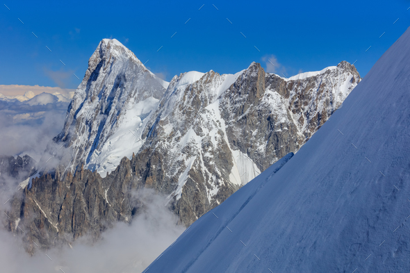 Mont Blanc mountain, view from Aiguille du Midi. France - Stock Photo - Images