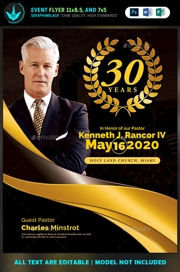 Black and Gold Pastor's Anniversary Flyer Templates - Church Flyers