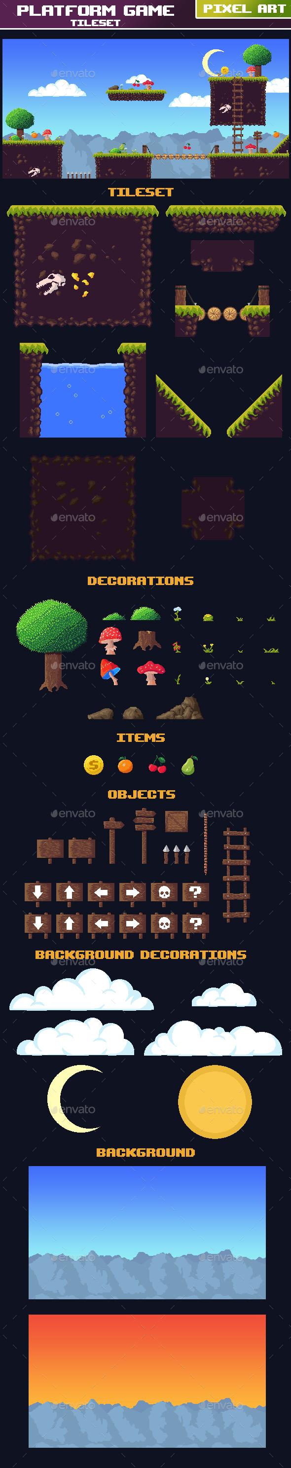 Tileset Platform Game Pixel Art - Tilesets Game Assets
