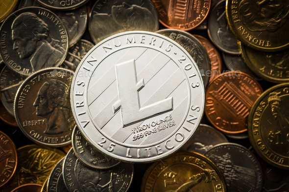 Litecoins. Digital cryptocurrency. - Stock Photo - Images