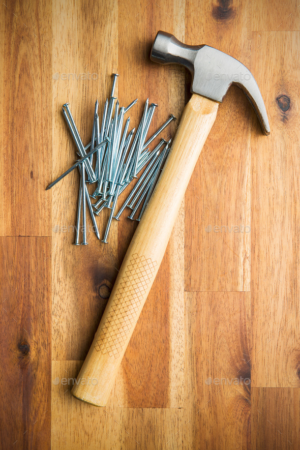 Hammer and nails. - Stock Photo - Images