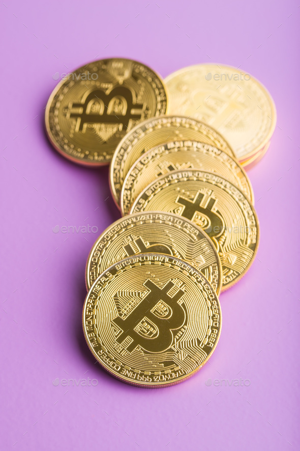 Golden bitcoins. Digital cryptocurrency. - Stock Photo - Images