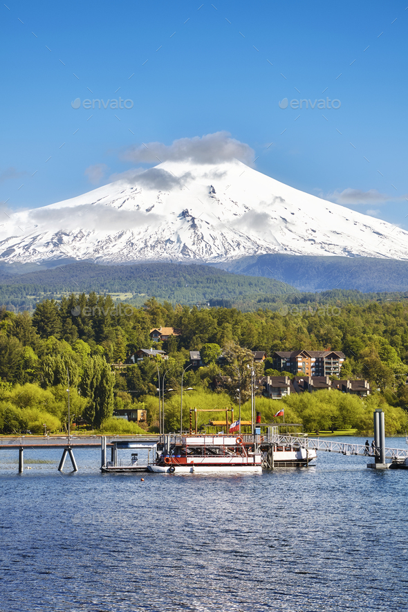 Picture of the Villarrica volcano, Chile - Stock Photo - Images