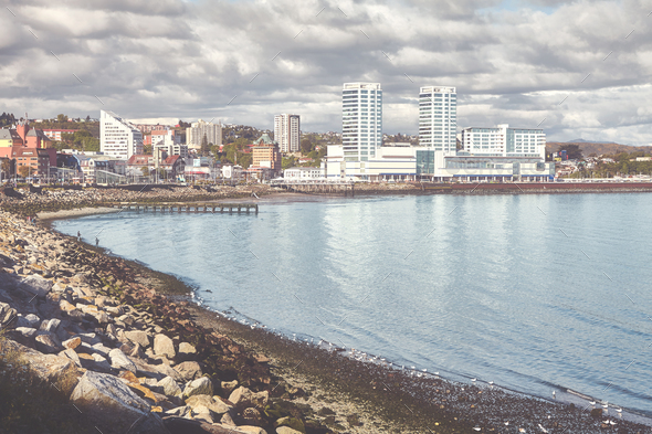 Retro toned picture of Puerto Montt city, Chile - Stock Photo - Images