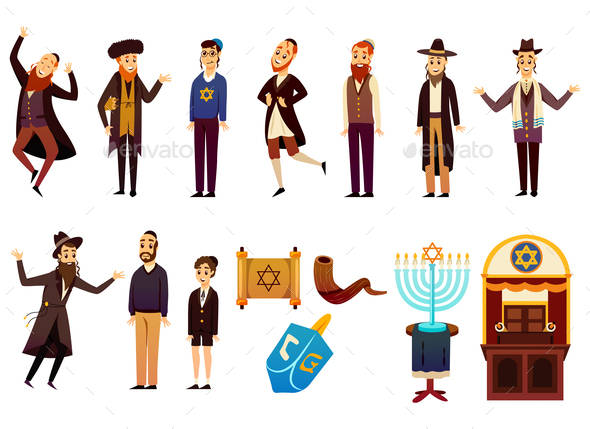 Cartoon Jew Characters Set - Religion Conceptual