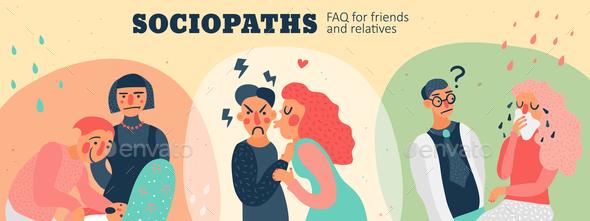 Sociopaths Header Illustration - People Characters