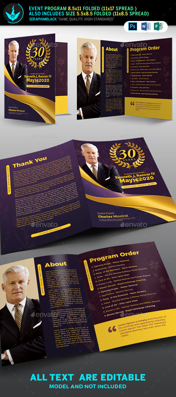 Lavender plus Gold Pastor's Anniversary Template - Informational Brochures