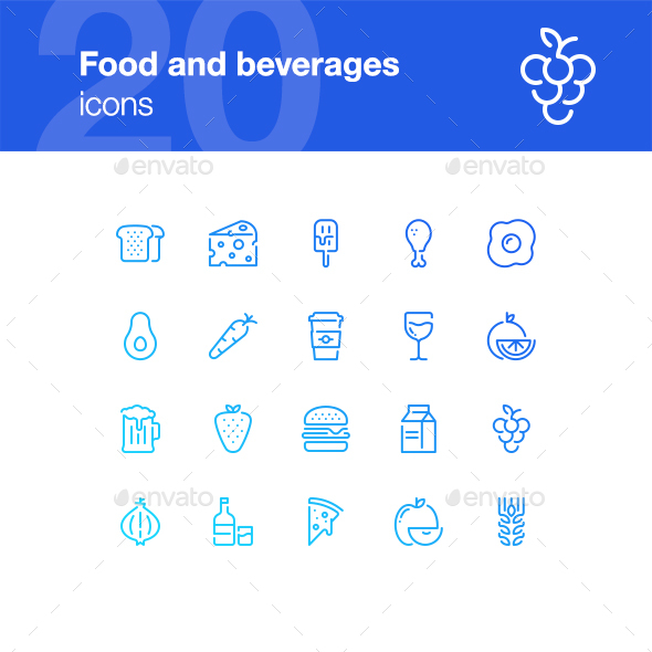 20 Food and Beverages Icons - Food Objects