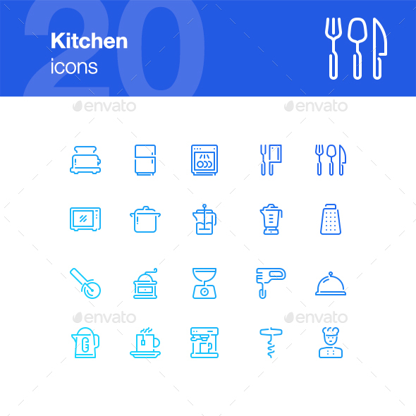 20 Kitchen Icons - Objects Icons