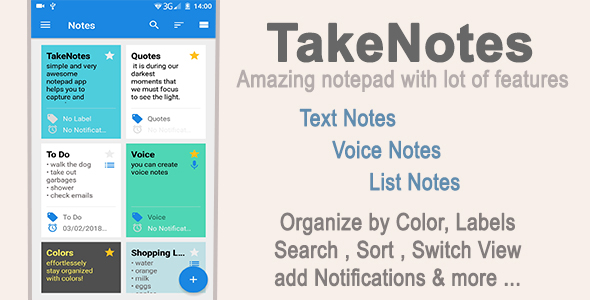 TakeNotes - Android (Text ,Voice ,List) Notepad app - CodeCanyon Item for Sale