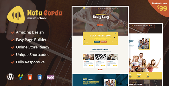 Image of NotaCorda - Music School and Childrens Music Academy WordPress Theme