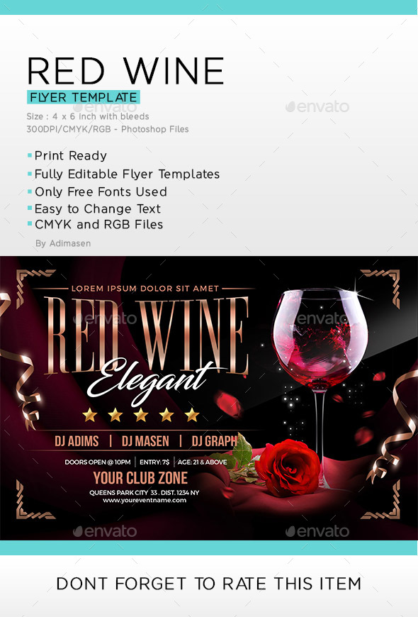 Red Wine Flyer Template By Adimasen Graphicriver
