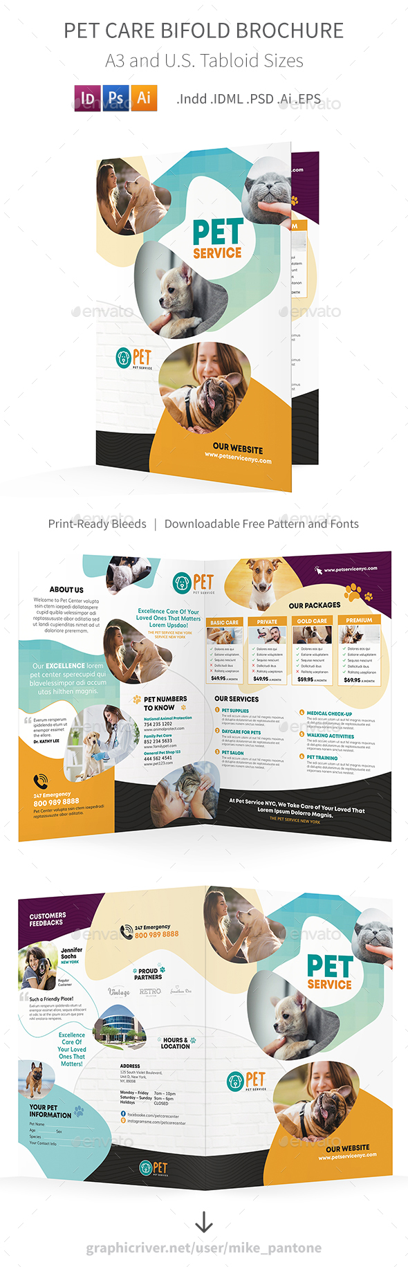 Pet Care Bifold / Halffold Brochure 7 - Informational Brochures
