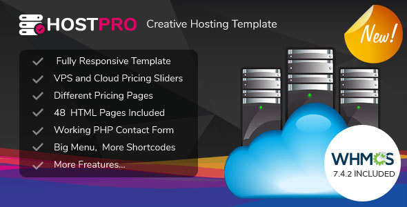 HOSTPRO - WHMCS & HTML Responsive Professional Clean and Creative Hosting and multipurpose Template
