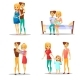 Couple and Child Vector Illustration of Cartoon