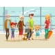 Family Travel in Airport Vector Illustration