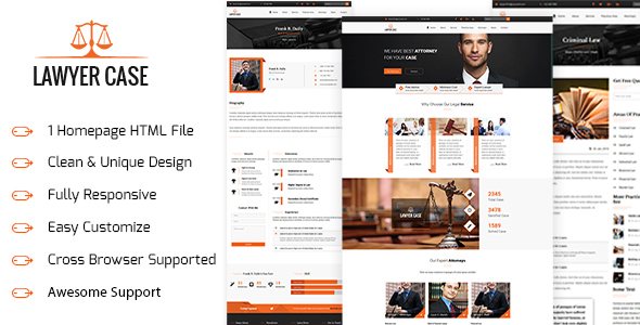 Lawyer Case - Lawyer & Attorney HTML5 Template - Business Corporate