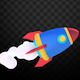 Isolated Cartoon Space Rocket - VideoHive Item for Sale