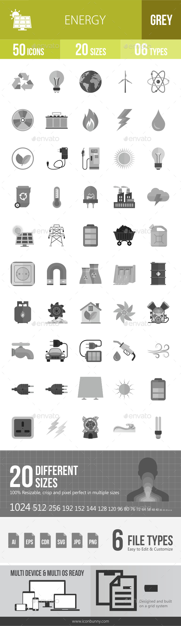 50 Energy Grey Scale Icons - Icons