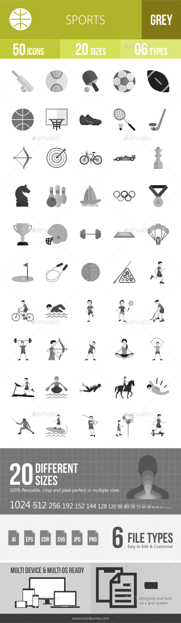 50 Sports Grey Scale Icons - Icons