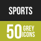 50 Sports Grey Scale Icons - GraphicRiver Item for Sale