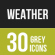 30 Weather Grey Scale Icons - GraphicRiver Item for Sale